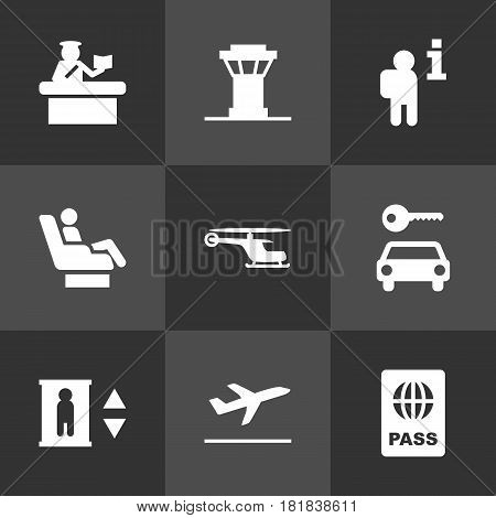 Set Of 9 Aircraft Icons Set.Collection Of Chopper, Hire, Leaving And Other Elements.