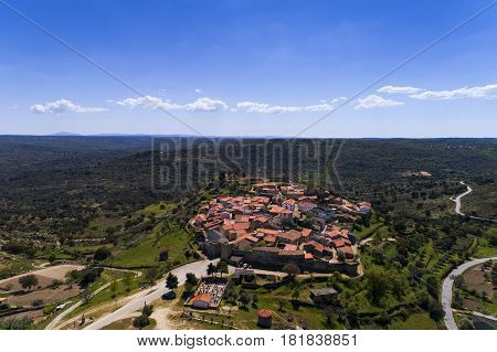 Aerial view of the Castelo Mendo Village in Portugal; Concept for travel in Portugal