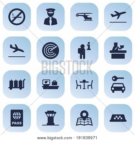 Set Of 16 Aircraft Icons Set.Collection Of Restaurant, Leaving, Data And Other Elements.