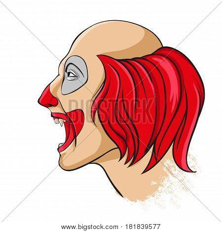 Evil clown portrait on a white background
