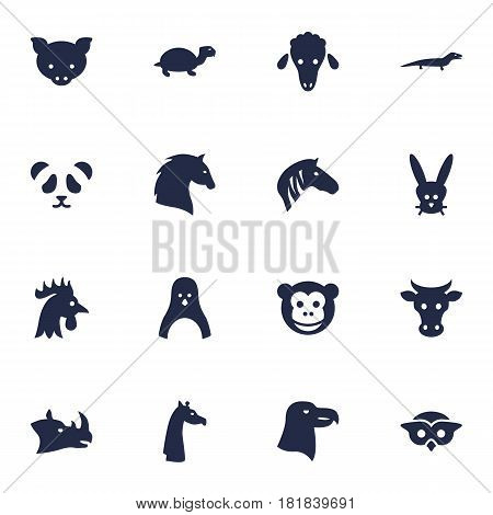 Set Of 16 Beast Icons Set.Collection Of Sea Bird, Owl, Tortoise And Other Elements.