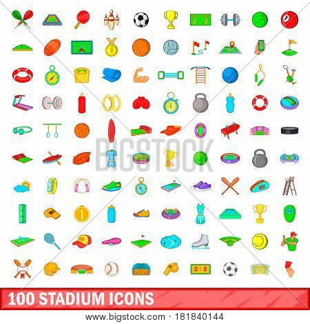 100 stadium icons set in cartoon style for any design vector illustration