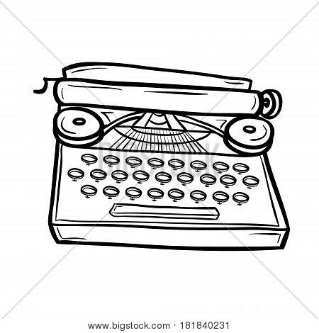 Typewriter in doodle style. Retro device. Hand drawn vector illustration isolated on white.