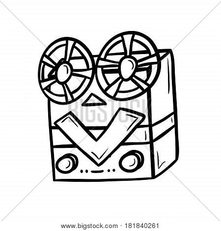 Retro bobbins device, cinema industry. Hand drawn vector illustration isolated on white.
