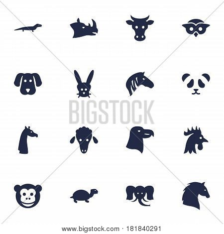 Set Of 16 Brute Icons Set.Collection Of Ape, Rhinoceros, Kine And Other Elements.