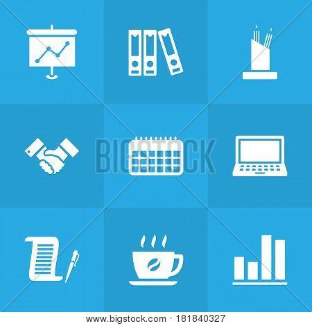 Set Of 9 Bureau Icons Set.Collection Of Calendar, Pencil Stand, Laptop Elements.