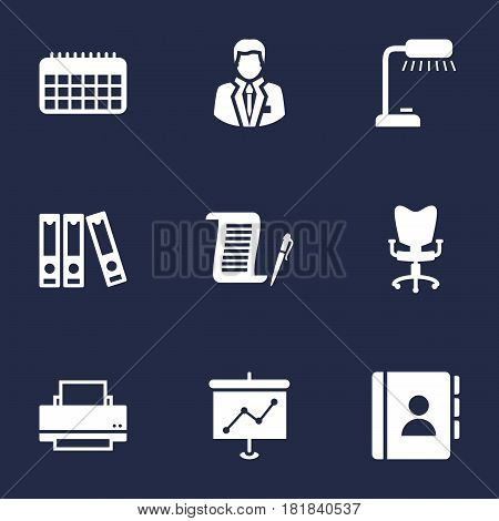 Set Of 9 Service Icons Set.Collection Of File Folder, Office Chair, Calendar And Other Elements.