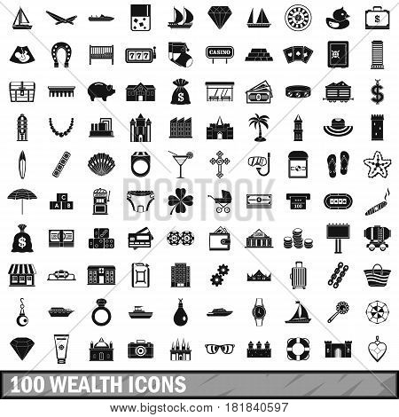 100 wealth icons set in simple style for any design vector illustration