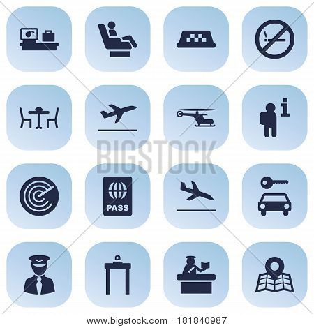 Set Of 16 Land Icons Set.Collection Of Data, Security, Chopper And Other Elements.