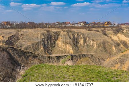Spring landscape with soil erosion in outskirts of Dnepr city Ukraine