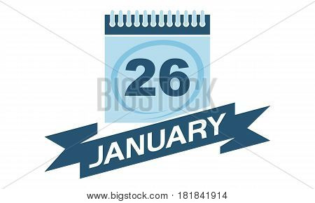 26 January Calendar with Ribbon Event Reminder