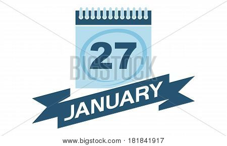 27 January Calendar with Ribbon Event Reminder