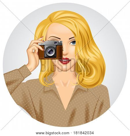 Blonde woman with retro photo camera in her hand. Vintage stylized business concept
