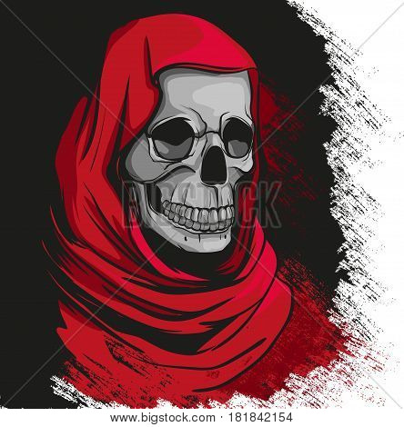 Grim reaper in red robe portrait  vector background