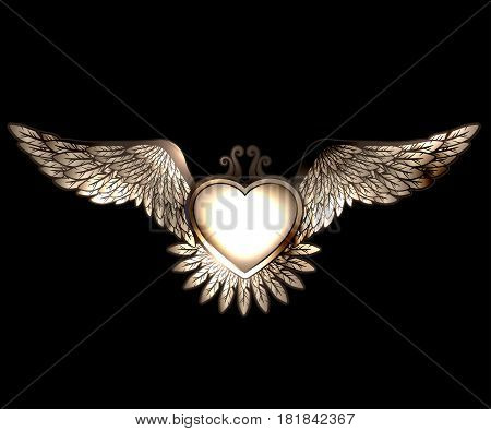 Steam punk style heart with wings  vector background