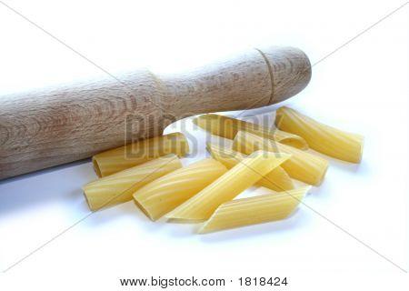 Pasta Maccheroni Rigatoni And Penne Isolated