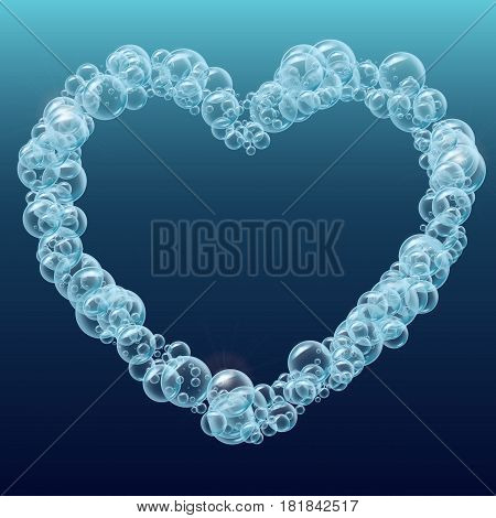 Shampoo bubbles heart shape. Template for web site background, flyer, banner. For soap cleaning foam or shampoo design, aqua park, swimming pool, diving club. Cool deep sea with bubbles and sprays.
