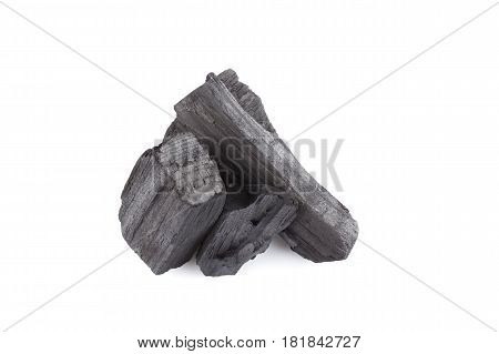 hardwood charcoal coal Isolated on white background