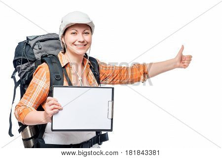 Young Woman Tourist Hitchhiking Travels With A Blank In Hands