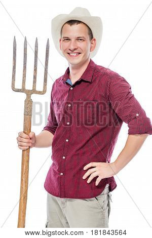 Happy Male Farmer With Forks On White Background