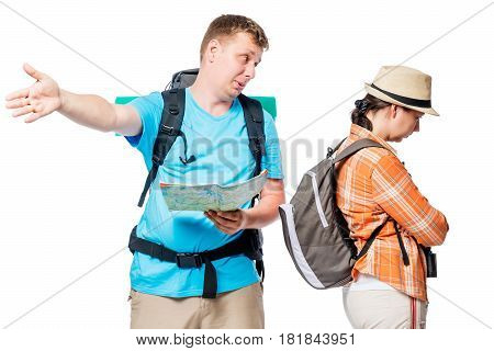 Quarreled Tourists With Backpacks Can Not Find A Way, Where Better To Go On A White Background