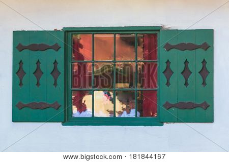 One window on the facade of the house in German style front view Helen USA