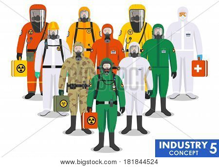 Group different workers standing together in differences protective suits on white background in flat style. Dangerous profession. Vector illustration.