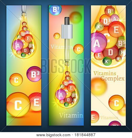 Essential vitamin complex. Creative background with different vitamins in oily drop. Beautiful vector illustration in bright rainbow colours. Medical, pharmaceutical image. Vertical banners template.