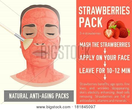 Beautiful woman with a strawberry face-pack during the cosmetological procedure. Vector illustration with a graphic recipe in light pastel colours isolated on a white background.