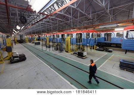 ST. PETERSBURG, RUSSIA - AUGUST 25, 2016: Railroad car under construction in Oktyabrsky electric railway car repair plant. Founded in 1826, now the plant not only repairs but also builds cars for subway