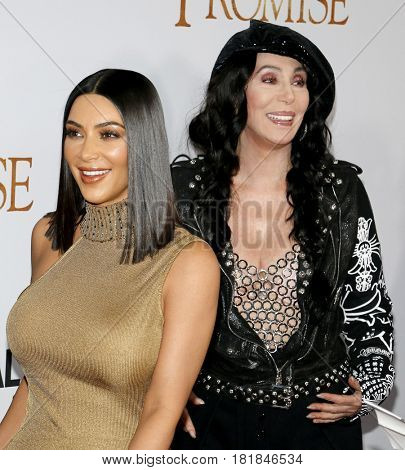 Kim Kardashian West and Cher at the Los Angeles premiere of 'The Promise' held at the TCL Chinese Theatre in Hollywood, USA on April 12, 2017.