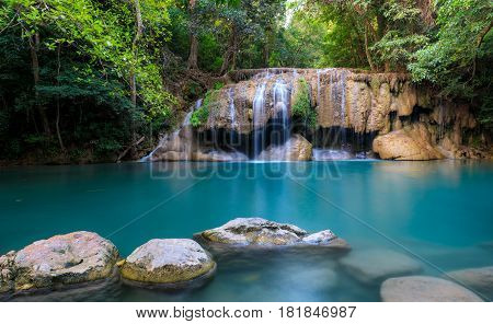 Erawan Waterfall Kanchanaburi province western of Thailand