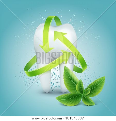 Vector green arrow protection around tooth with peppermint leaf isolated on blue background