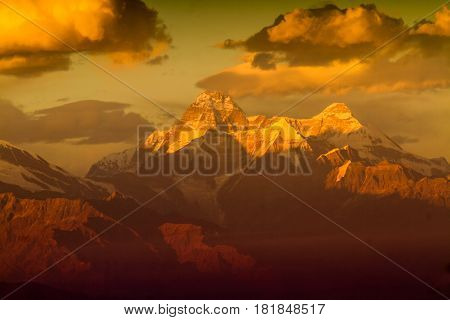 Sunrise light on Nandadevi Peak in the Himalayas. Elevation 7,816 Meter