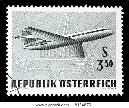 AUSTRIA - CIRCA 1968 : Cancelled postage stamp printed by Austria, that shows Airplane.