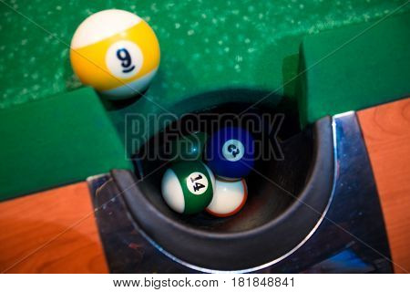 American Pool, Snooker Billiard Game The Shot Ball Going In Billiard Pocket.