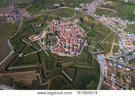 Aerial view of the village of Almeida in Portugal; Concept for travel in Portugal