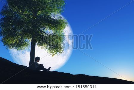 3D render of a boy sat against a tree with moon in night sky