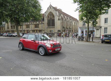 OXFORD UK - CIRCA SEPTEMBER 2016: red Mini Cooper car (2013 model)