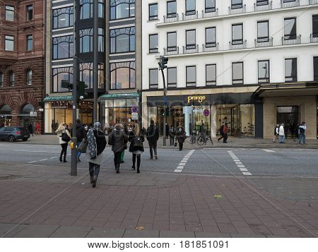 People Crossing The Street In Hamburg