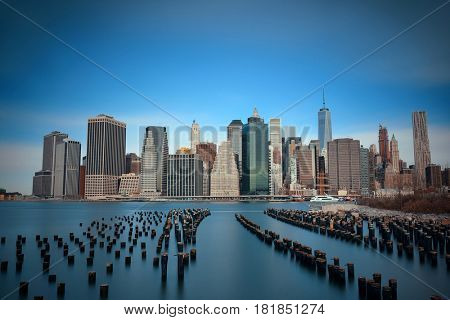 New York City downtown skyline with pier remains