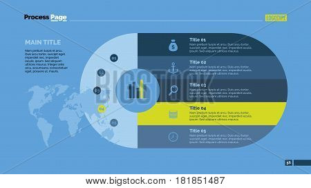 Five steps process chart slide template. Business data. Stage, diagram, design. Creative concept for infographic, presentation. Can be used for topics like management, logistics, training.