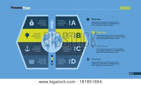 Four steps process chart slide template. Business data. Option, diagram, design. Creative concept for infographic, presentation. Can be used for topics like management, strategy, logistics.