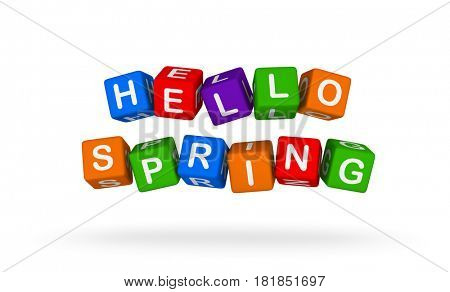 Hello Spring. Colorful Toy Block Flying on White Background. 3D illustration.