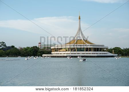 BANGKOK THAILAND 14 April 2017 : Unidentified people enjoy their resting on swan boat in the lake of Suanluang RAMA IX public park on July 26 2015 in Bangkok Thailand.