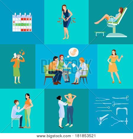 Gynecologist flat composition with planning calendar and doctor s appointment with husband vector illustration