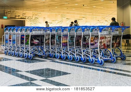 Trolleys Parking In Changi Airport. Arrival Hall