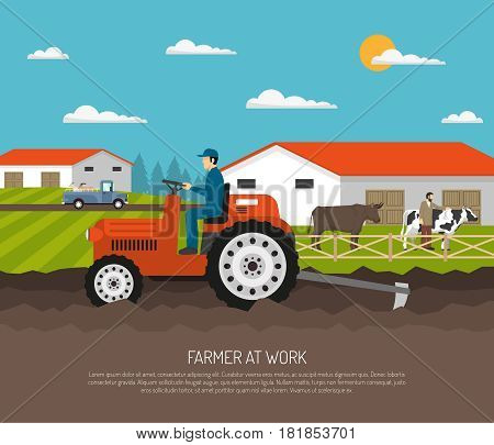 Farm background with flat farmsteading landscape and farmer character on agrimotor and livestock animals with text vector illustration