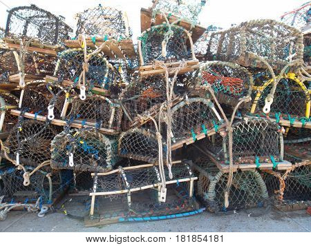 Crab cages waiting to be deployed at Filey East Yorkshire