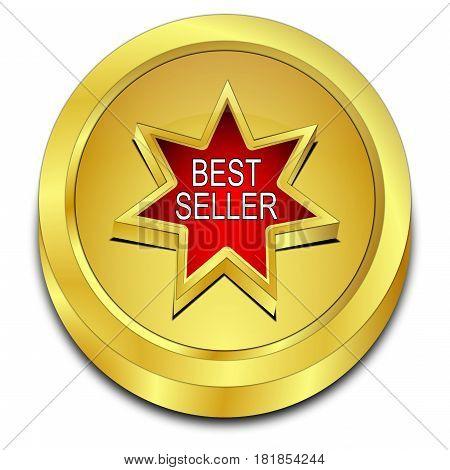 decorative golden red Bestseller button - 3D illustration
